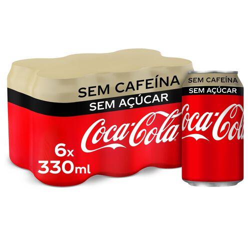 REFRIGERANTE COM GÁS COCA-COLA SEM CAFEÍNA SEM AÇÚCAR 6X0.33 L image number 0