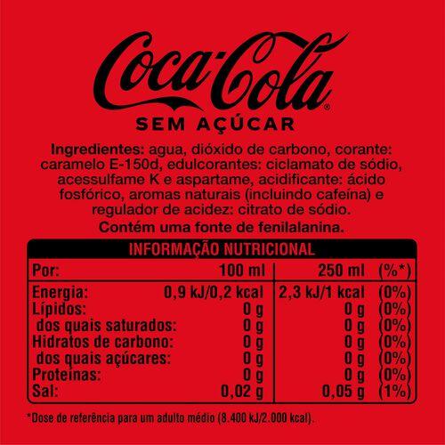 REFRIGERANTE COCA-COLA SEM AÇÚCAR 2 X 1.75 L image number 1