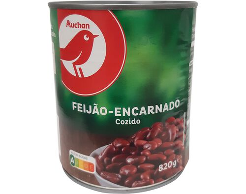 FEIJÃO ENCARNADO AUCHAN COZIDO 820 G image number 0