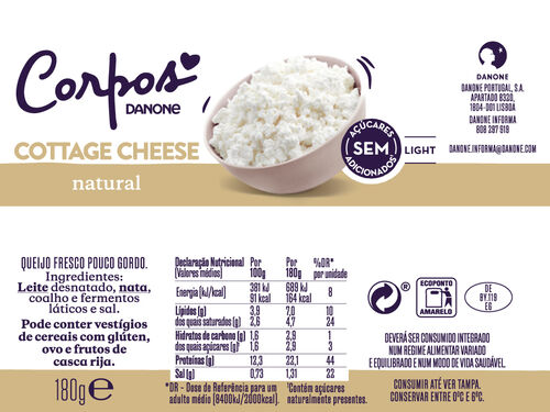 COTTAGE CORPOS DANONE CHEESE LIGHT 180G image number 1