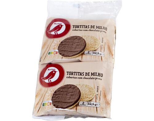 TORTITAS AUCHAN MILHO COBERTURA CHOCOLATE PRETO 4X32.5G image number 0