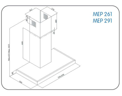 CHAMINÉ MEIRELES MEP 291 R C 580M3/H 90CM INOX image number 1
