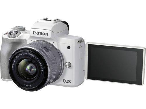 MÁQUINA FOTOGRÁFICA MIRRORLESS CANON EOS M50 MII+ EF-M 15-45MM F/3.5-6.3 IS STM BRANCA