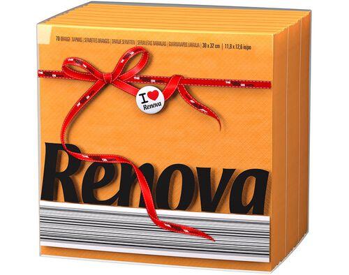 GUARDANAPOS FOLHA SIMPLES TIPO E RENOVA LARANJA 30X32CM PACK 70 UNIDADES image number 0