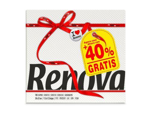 GUARDANAPO FOLHA SIMPLES RED LABEL RENOVA BRANCO 30X32CM 100UND image number 0