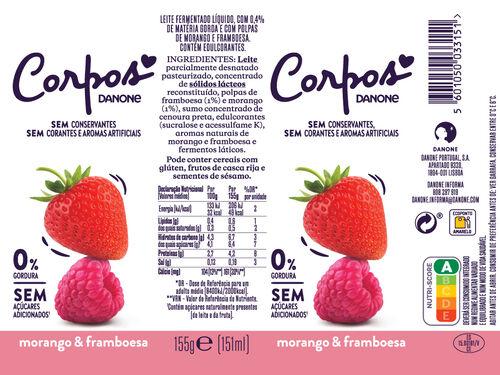IOGURTE MAGRO CORPOS DANONE LIQUIDO MORANGO/FRAMB. 4X155 G image number 1