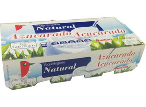 IOGURTE NATURAL AUCHAN AÇUCARADO 8X125G image number 0