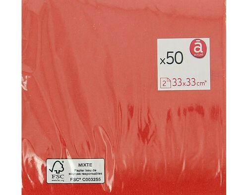 GUARDANAPOS FOLHA DUPLA ACTUEL VERMELHO 33X33CM PACK 50 UNIDADES image number 0