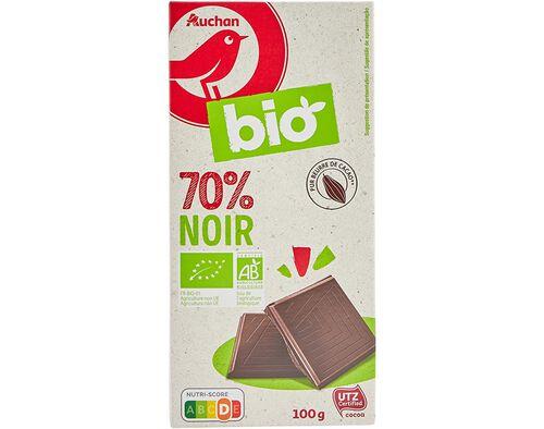 CHOCOLATE NEGRO AUCHAN BIO 70% 100G image number 0