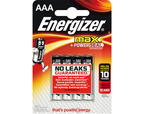 PILHAS ALCALINAS ENERGIZER AAA ULTRA+/MAX BL4 image number 0
