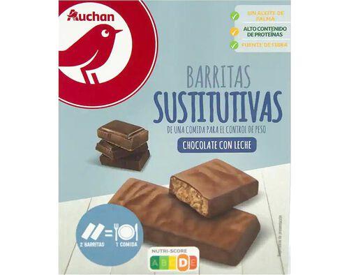 BARRITAS AUCHAN SUBSTITUTAS REFEIÇÃO CHOCOLATE LEITE 192G (6X32G) image number 0