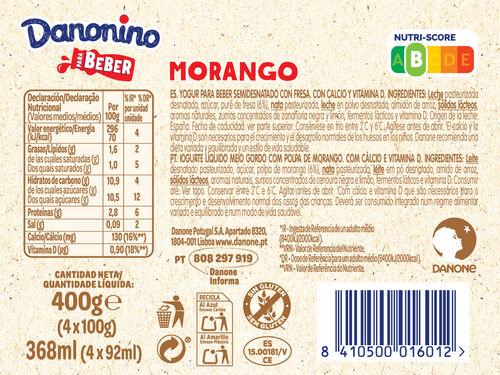 IOGURTE DANONINO P/BEBER MORANGO 4X100 G image number 1