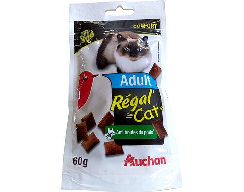 SNACK PARA GATO AUCHAN ADULTO RÉGAL CAT BOLA PÊLO 60G image number 0