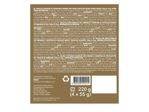 GELADO PROZIS MELTY CHOCOLATE PRETO CARAMELO & AMENDOIM 220G (4X55G) image number 1
