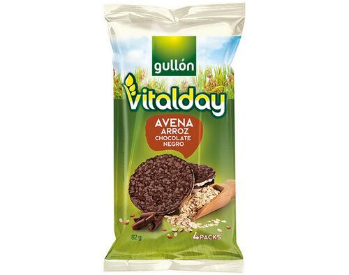 TORTITAS GULLON VITALDAY ARROZ E AVEIA CHOCOLATE NEGRO 82G image number 0