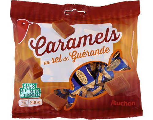 CARAMELOS AUCHAN COM FLOR DE SAL DE GUERANDE 200G image number 0