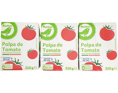 POLPA AUCHAN ESSENCIAL TOMATE BAIXO TEOR SAL 3X210G image number 0