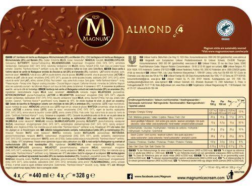 GELADO MAGNUM AMÊNDOAS 4X110ML image number 1