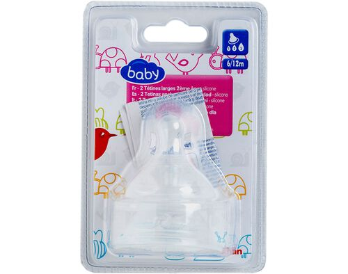 PACK 2 TETINAS AUCHAN BABY SILICINE 6/12 MESES image number 0