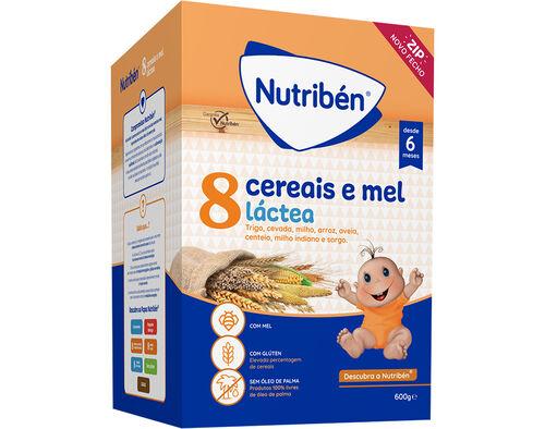 PAPA LACTEA NUTRIBEN 8 CEREAIS E MEL 600G image number 0