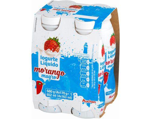 IOGURTE LÍQUIDO MAGRO AUCHAN MORANGO 4X170G image number 0