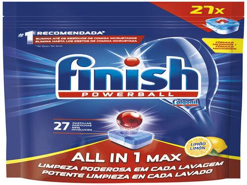 DETERGENTE LOIÇA FINISH MÁQUINA TUDO EM 1 LIMÃO 27 PAST image number 0