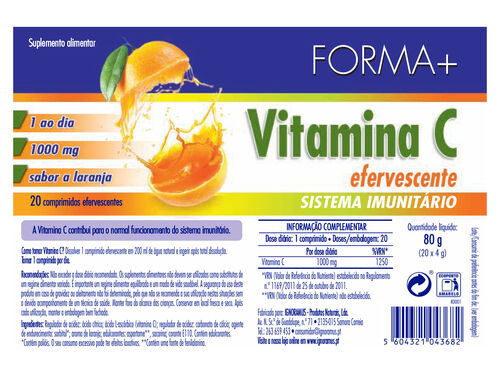SUPLEMENTO FORMA+ VITAMINA C EFERVESCENTE 20 COMP image number 1