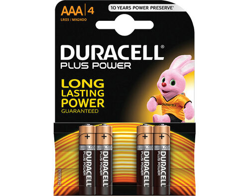 PILHAS ALCALINAS DURACELL PLUS AAA (LR03) K4 image number 0