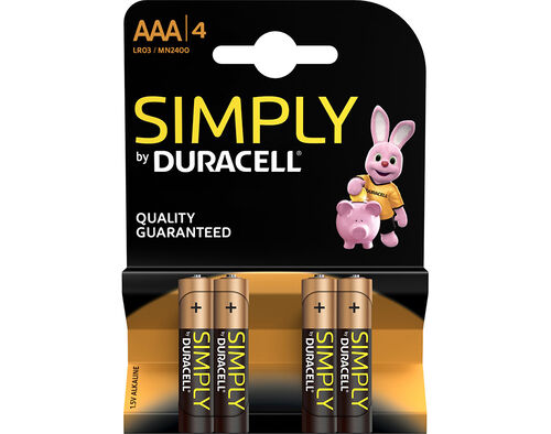 PILHAS ALCALINAS DURACELL SIMPLY AAA MN 2400(LR03) K4 image number 0