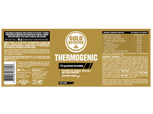 SUPLEMENTO GOLDNUTRITION TERMOGÉNICO 60 VCAPS image number 1