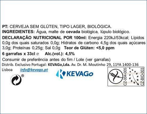 CERVEJA C/ALCOOL CELIA ZATEC S/GLÚTEN E BIO 6X33CL image number 1