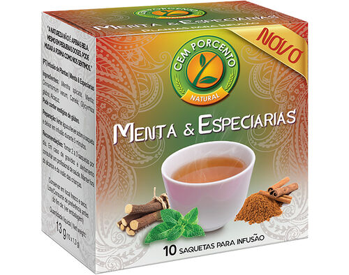 CHÁ CEM PORCENTO MENTA & ESPECIARIAS 10 SAQ image number 0