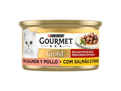 COMIDA HÚMIDA GATO GOURMET GOLD SALMÃO/FRANGO 85GR image number 0