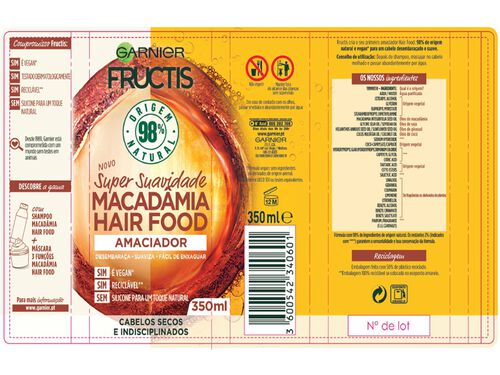CHAMPÔ FRUCTIS HAIR FOOD MACADÂMIA 350ML image number 1