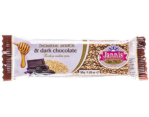 BARRAS JANNIS SÉSAMO COM CHOCOLATE PRETO 30G image number 0