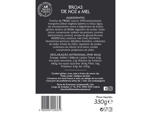 BROAS BISCOITOS DE SINTRA DE NOZ E MEL 330GR image number 1