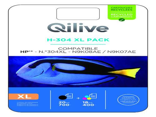 TINTEIRO COMPAT/ RECICL QILIVE B+CMY HP H-304 PACK XL 27839 image number 1