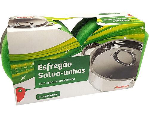 ESFREGÃO SALVA-UNHAS AUCHAN ESPONJA ANATÓMICA 2UN image number 0