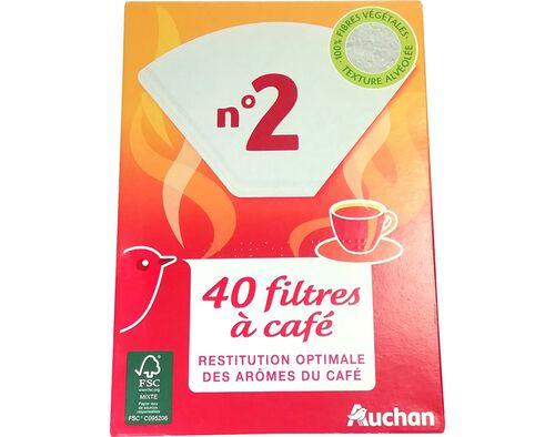 FILTROS PARA CAFÉ N.2 AUCHAN PACK 40 UNIDADES image number 0