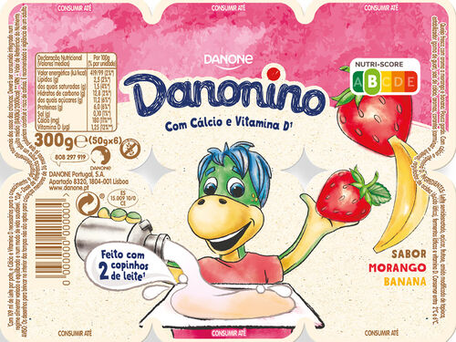 IOGURTE DANONINO PETIT MORANGO/BANANA 6X50G image number 1