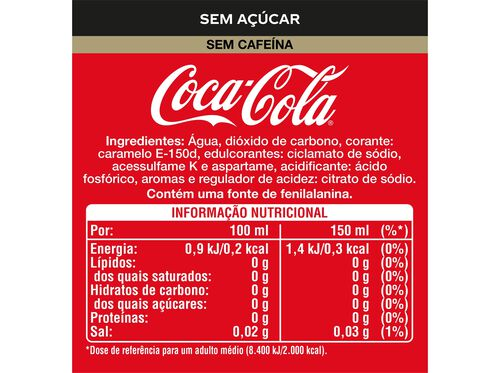 REFRIGERANTE COM GÁS COCA-COLA SEM CAFEÍNA SEM AÇÚCAR 6X0.33 L image number 1