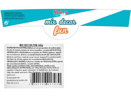 DECORAÇÃO NUTRY P/ PASTELARIA MIX 145 G image number 1