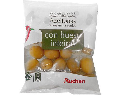 AZEITONAS AUCHAN VERDES MANZANILHA INTEIRA 100G image number 0