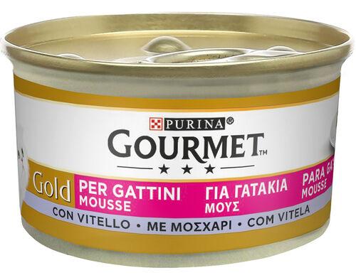 COMIDA HÚM GATO JUNIOR GOURMET :GOLD MOUSSE VITELA 85GR image number 0