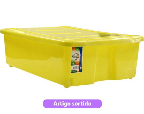 CAIXA DE ARRUMAÇÃO COM TAMPA E RODAS FAPIL CORES SORTIDAS 30L image number 0