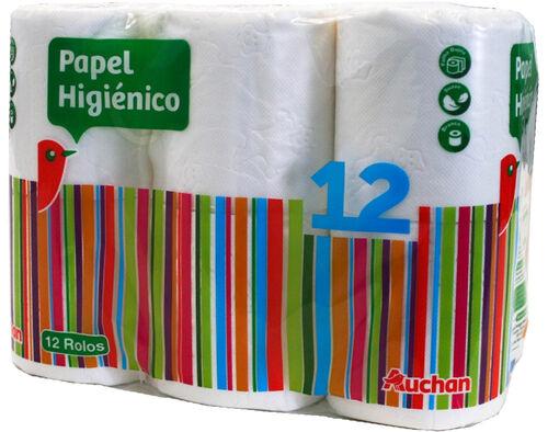 PAPEL AUCHAN HIGIÉNICO FOLHA DUPLA 12 ROLOS image number 0