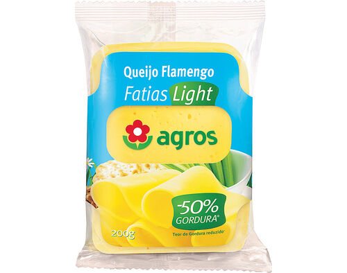 QUEIJO AGROS FLAMENGO FATIAS LIGHT 200G image number 0
