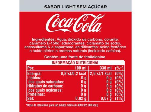 REFRIGERANTE COCA-COLA COM GÁS SABOR LIGHT LATA 6X0.33L image number 1