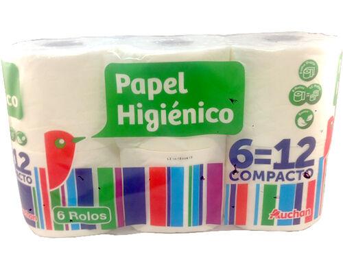 PAPEL AUCHAN HIGIÉNICO COMPACTO FOLHA DUPLA 6 ROLOS = 12 ROLOS image number 0